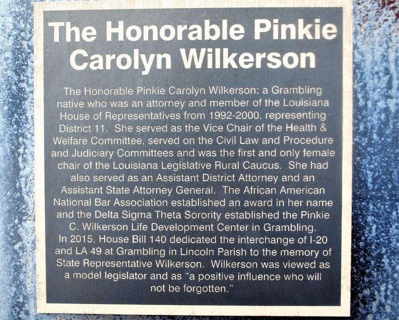 The Honorable Pinkie Carolyn Wilkerson Marker image. Click for full size.