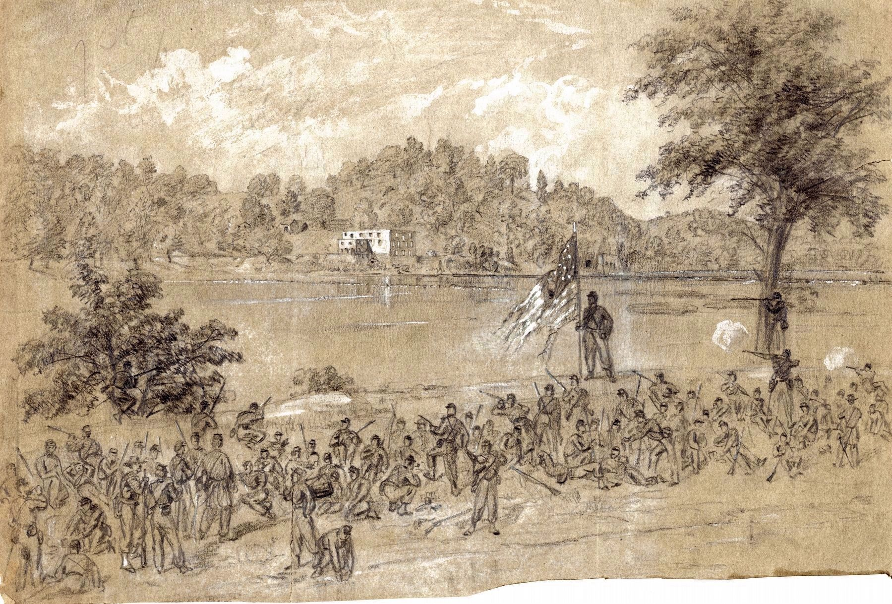 Ford near Shepherdstown, on the Potomac.<br>Pickets Firing Across the River image. Click for full size.