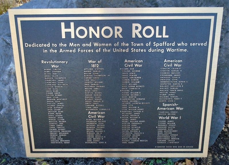 Spafford Veterans Memorial Honor Roll image. Click for full size.