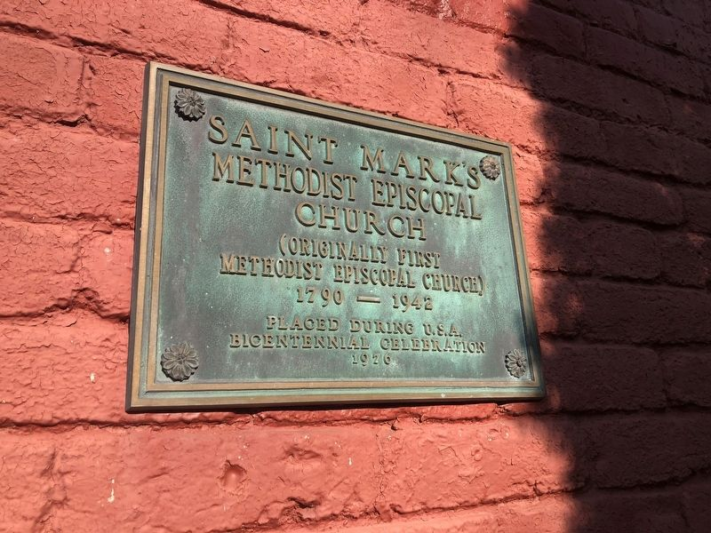 Saint Mark's Methodist Episcopal Church Marker [Left plaque] image. Click for full size.