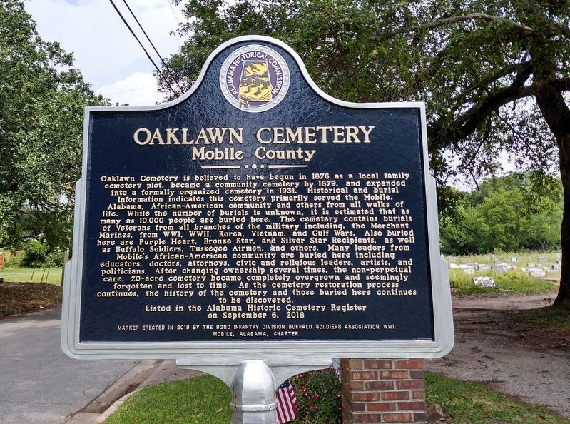 Oaklawn Cemetery Historical Marker image. Click for full size.