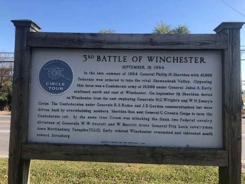 3rd Battle of Winchester Marker image. Click for full size.