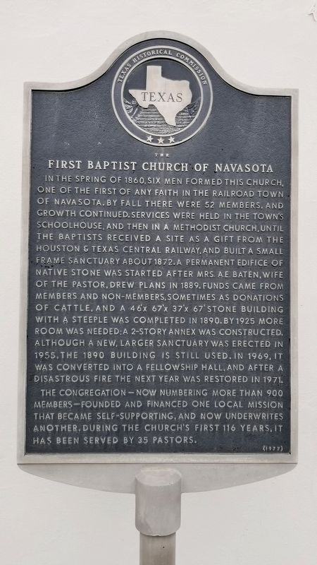 The First Baptist Church of Navasota Marker image. Click for full size.