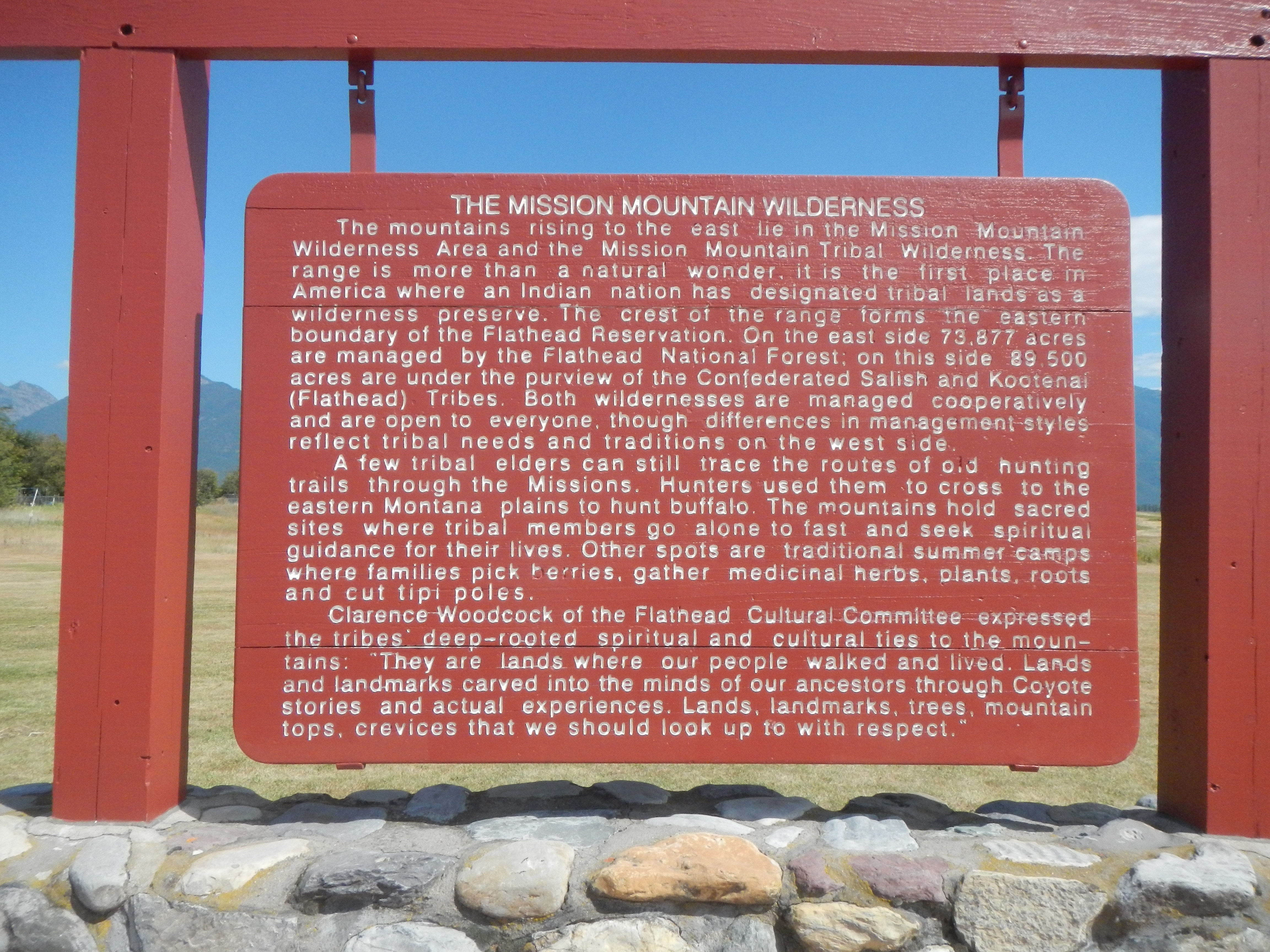 The Mission Mountain Wilderness Marker