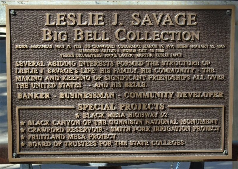 Leslie J. Savage Big Bell Collection Marker image. Click for full size.