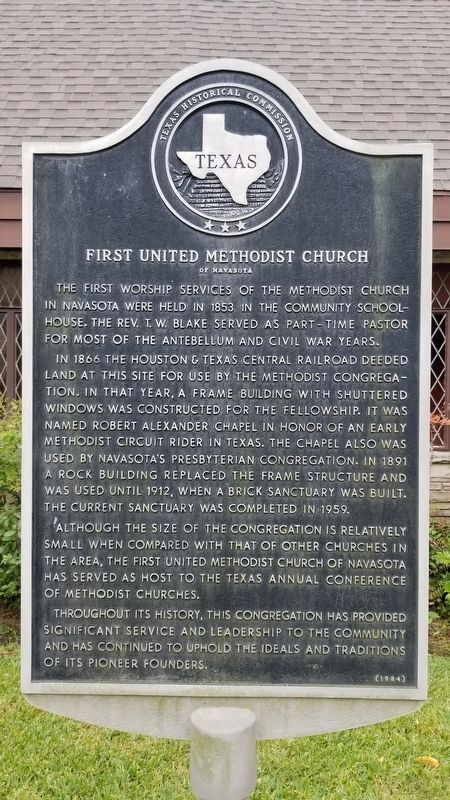 First United Methodist Church of Navasota Marker image. Click for full size.