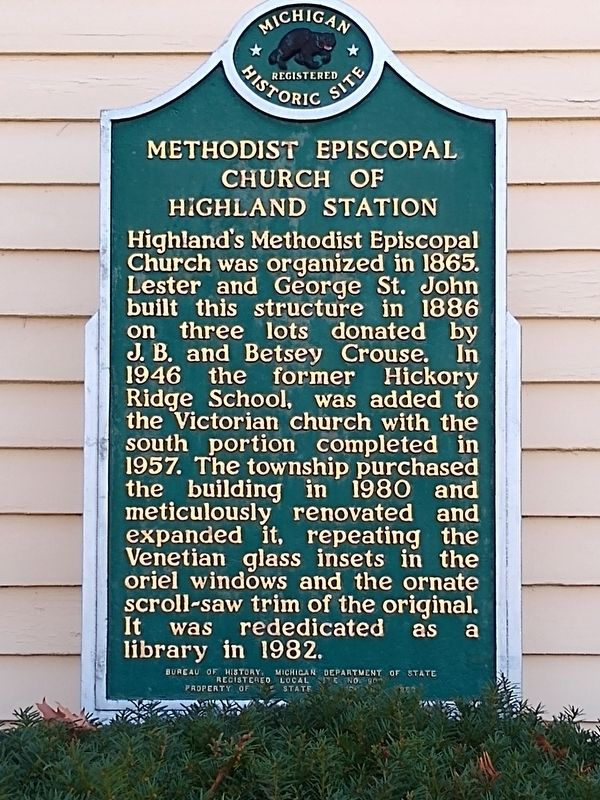 Methodist Episcopal Church of Highland Station Marker image. Click for full size.