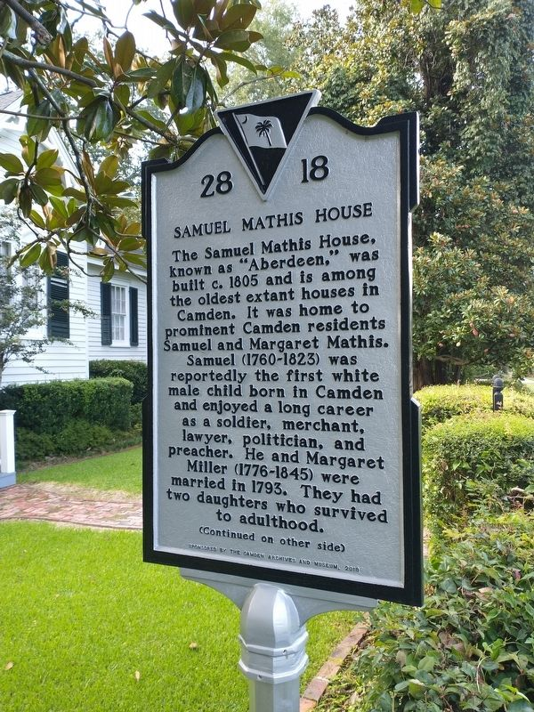 Samuel Mathis House Marker (front) image. Click for full size.
