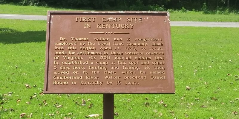 First Camp Site In Kentucky Marker image. Click for full size.
