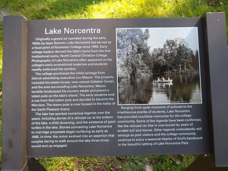 Lake Norcentra Marker image. Click for full size.