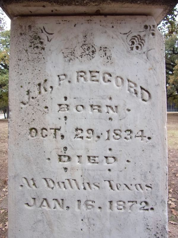 James K. Polk Record headstone detail image. Click for full size.