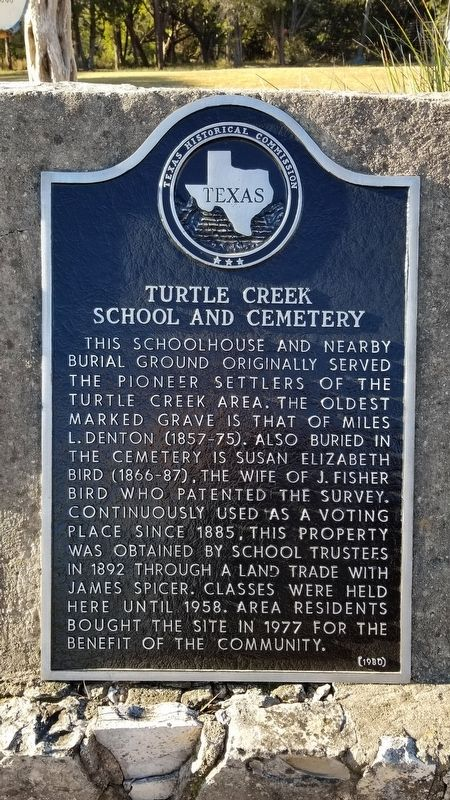 Turtle Creek School and Cemetery Marker image. Click for full size.