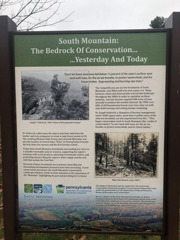 South Mountain: The Bedrock Of Conservation… Marker image. Click for full size.