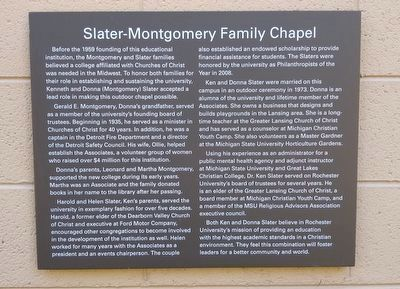 Slater-Montgomery Family Chapel Marker image. Click for full size.