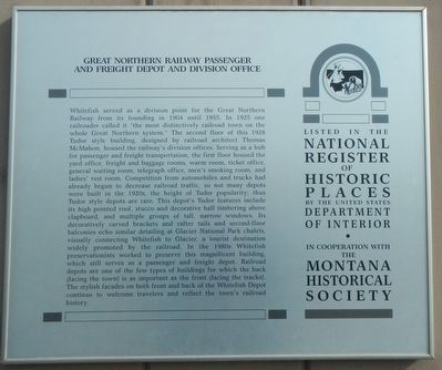 Great Northern Railway Passenger and Freight Depot and Division Office Marker image. Click for full size.