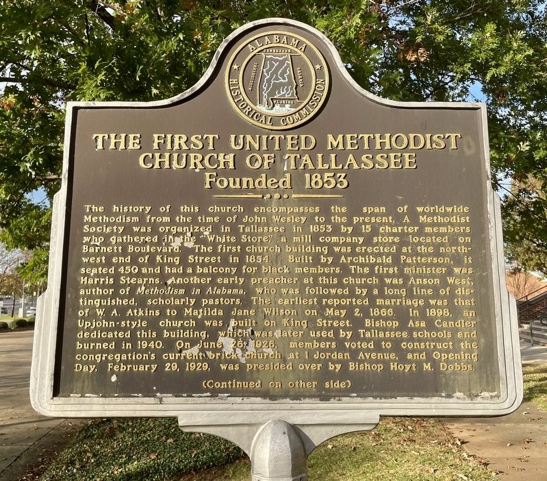 The First United Methodist Church of Tallassee Marker (front) image. Click for full size.