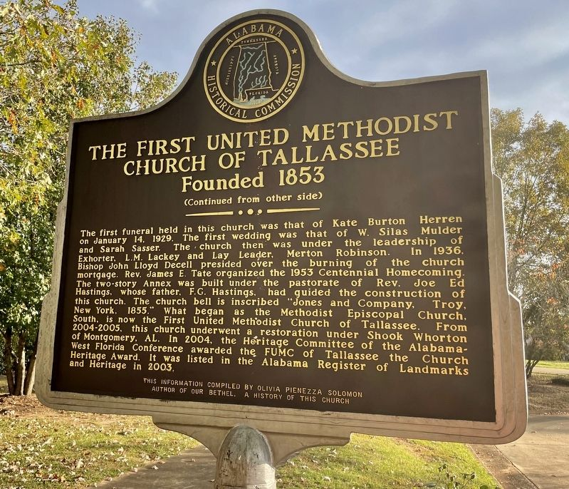 The First United Methodist Church of Tallassee Marker (rear) image. Click for full size.