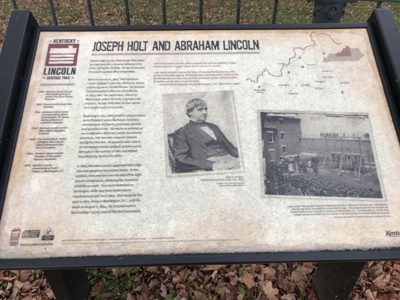 Joseph Holt and Abraham Lincoln Marker image. Click for full size.