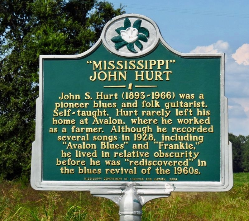 """Mississippi"" John Hurt Marker image. Click for full size."