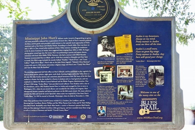 Mississippi John Hurt Marker (rear) image. Click for full size.
