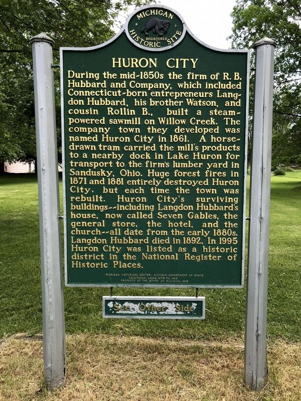 Huron City Marker - Side One image. Click for full size.