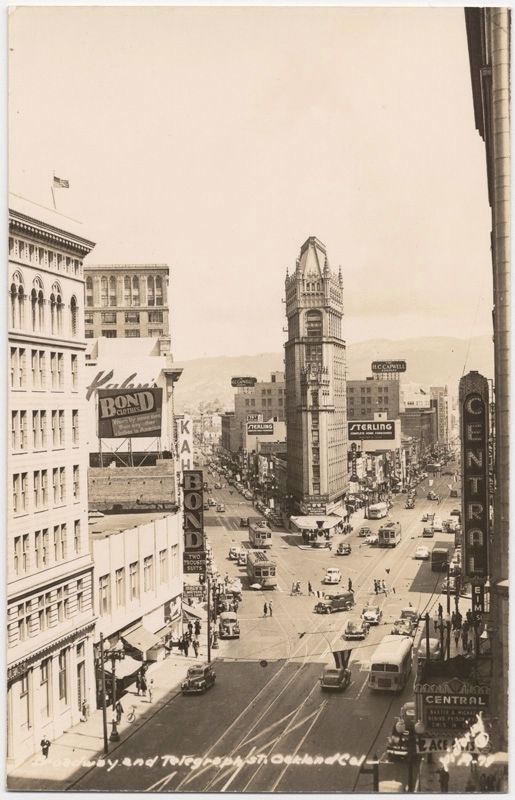 <i>Broadway and Telegraph St. Oakland Cal.</i> image. Click for full size.