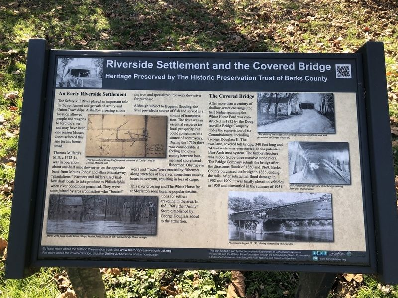 Riverside Settlement and the Covered Bridge Marker image. Click for full size.