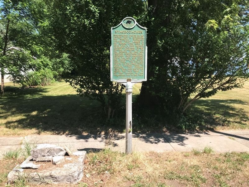 Stagecoaches Marker and Stepping Stone to the former Bay Port Hotel image. Click for full size.
