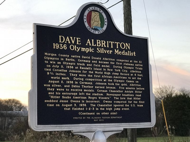Dave Albritton (1936 Olympic Silver Medalist) Marker image. Click for full size.