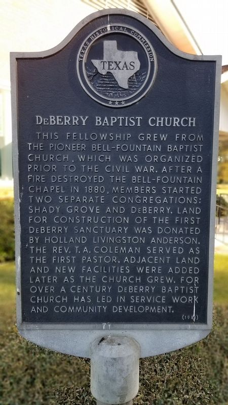 DeBerry Baptist Church Marker image. Click for full size.