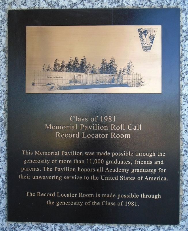 Memorial Pavilion Roll Call Record Locator Room Marker image. Click for full size.