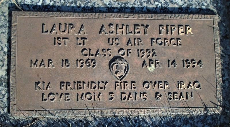 1st Lt Laura Ashley Piper Grave Marker image. Click for full size.