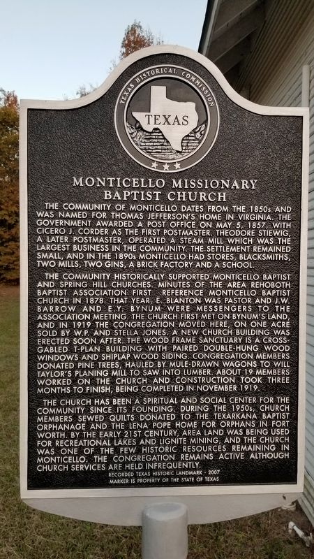 Monticello Missionary Baptist Church Marker image. Click for full size.