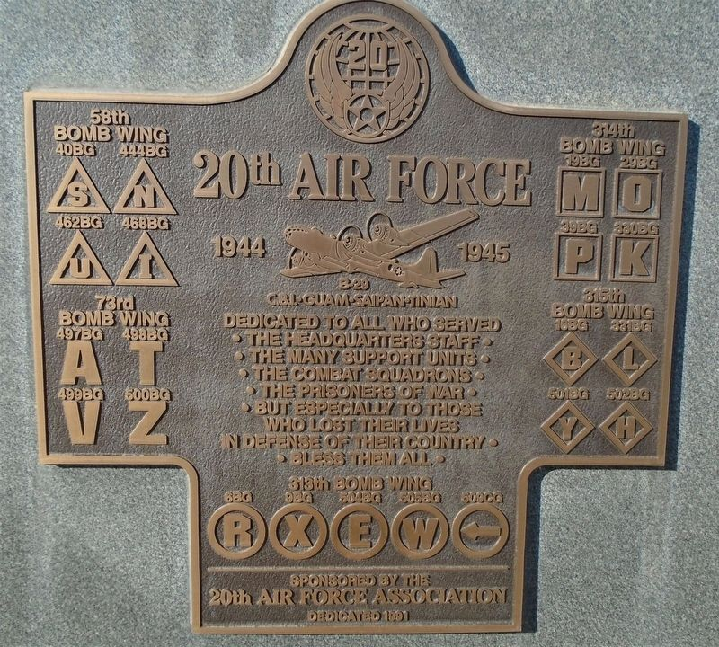 20<sup>th</sup> Air Force Marker image. Click for full size.