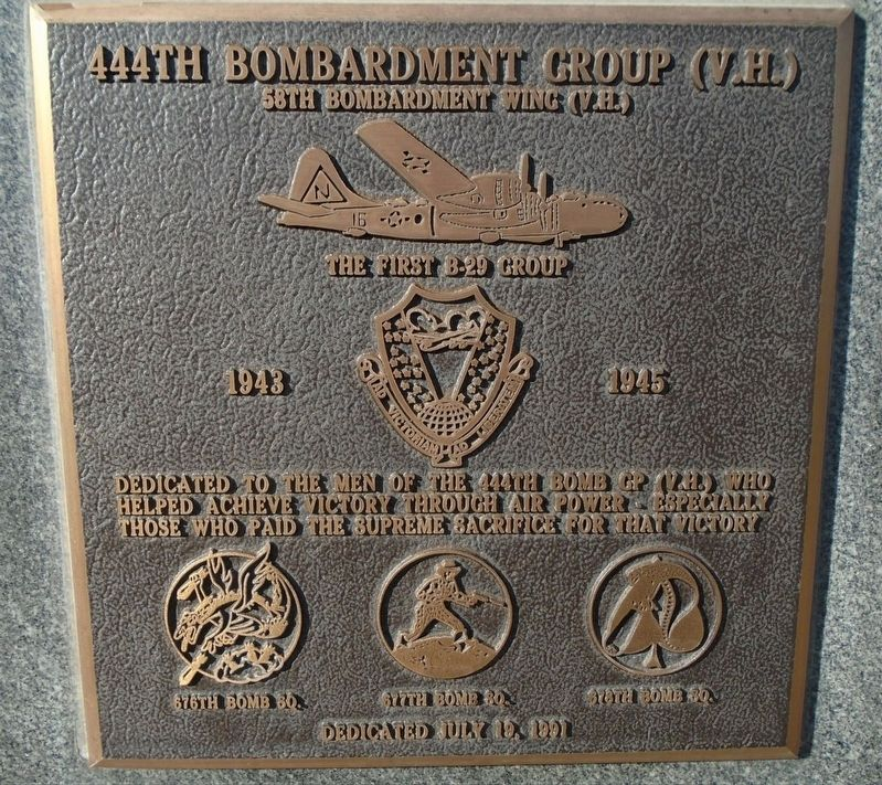 444th Bombardment Group (V.H.) Marker image. Click for full size.