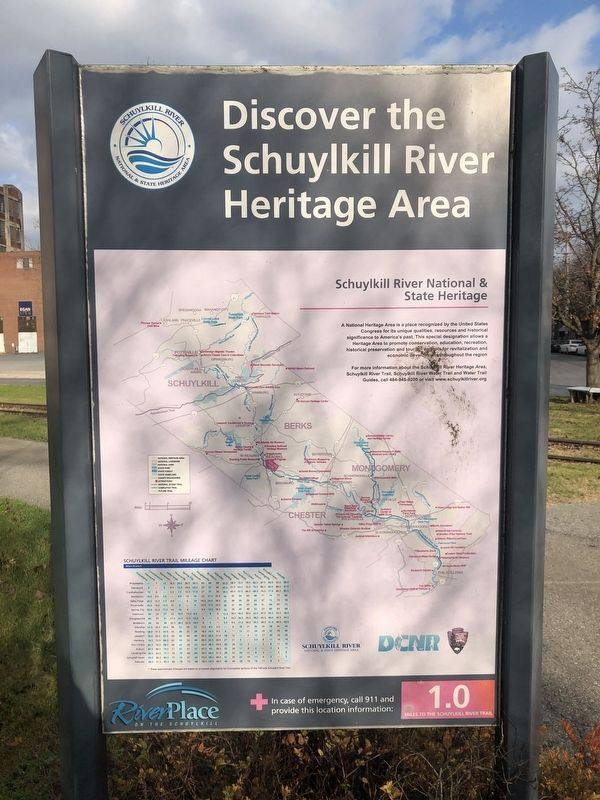 Discover the Schuylkill River Heritage Area sign image. Click for full size.