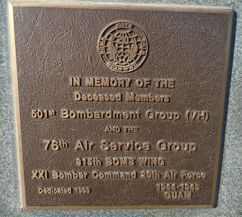 501<sup>st</sup> Bombardment Group (VH) • 76<sup>th</sup> Air Service Group Marker image. Click for full size.