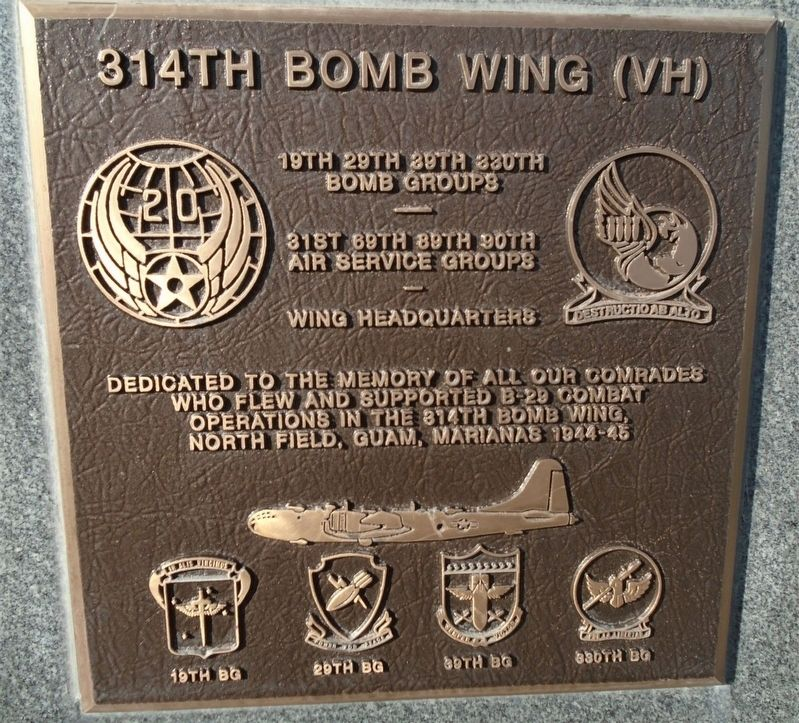314th Bomb Wing (VH) Marker image. Click for full size.