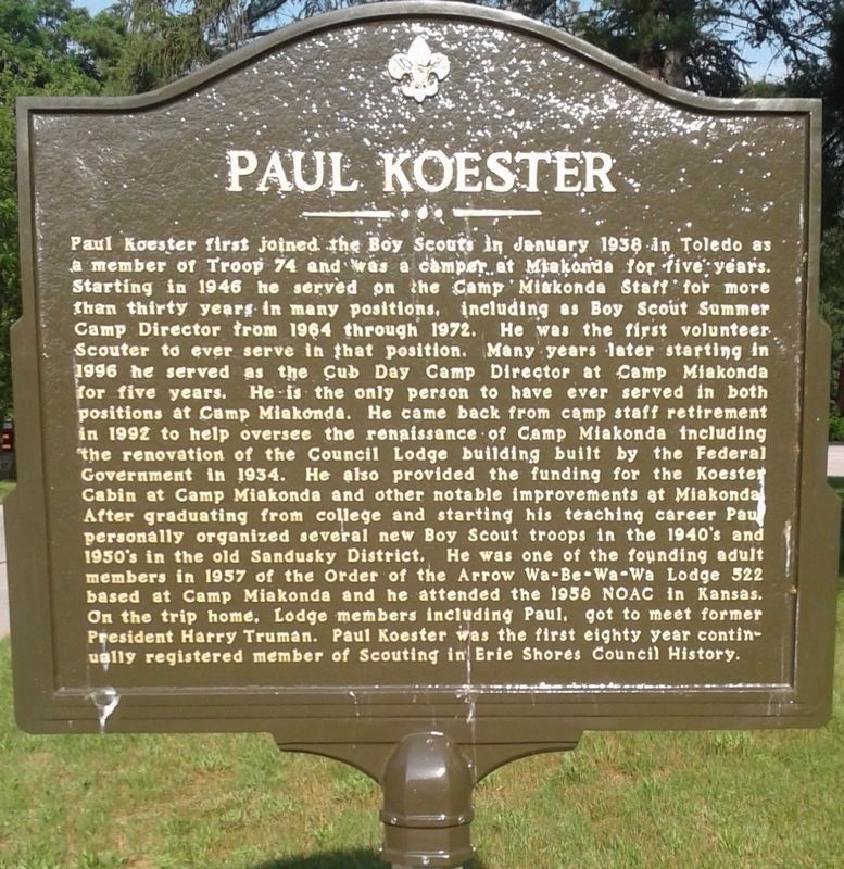 Paul Koester side of the marker image. Click for full size.