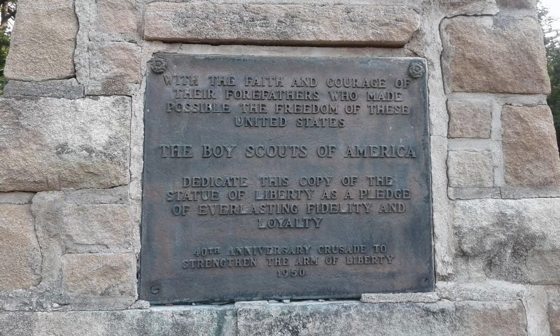 Plaque on the Statue Of Liberty Replica image. Click for full size.