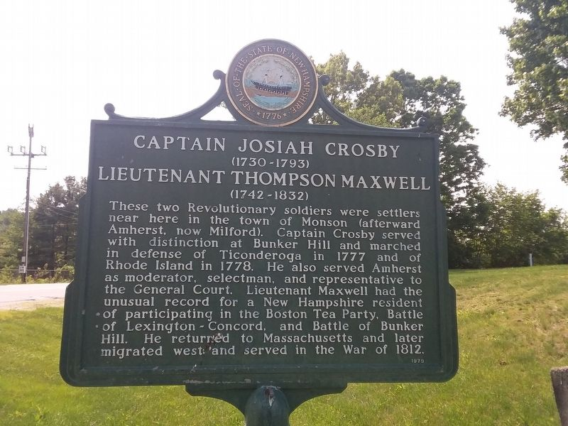 Captain Josiah Crosby And Lieutenant Thompson Maxwell Marker image. Click for full size.