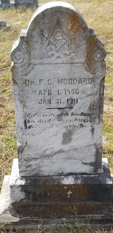 Closeup up Franklin Columbus Woodard gravestone. image. Click for full size.