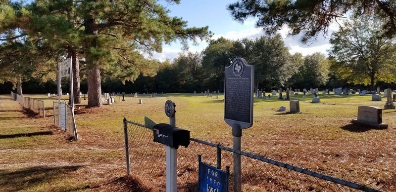 Lovelady Evergreen Cemetery Marker and Historic Cemetery Medallion image. Click for full size.
