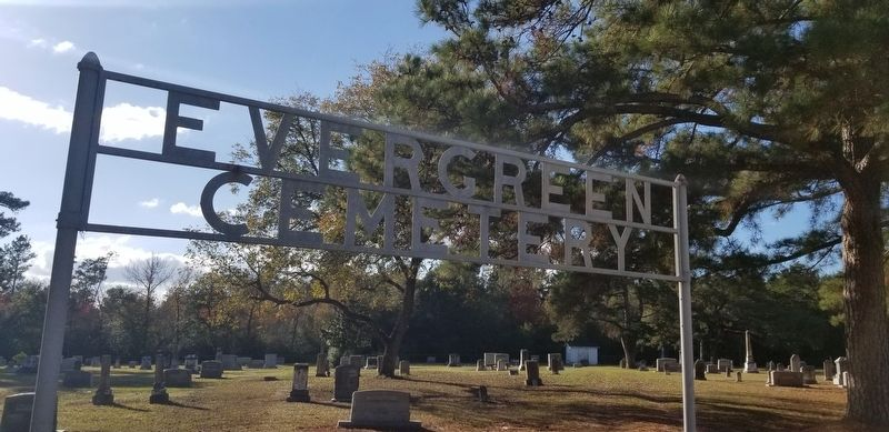Main entrance to the Lovelady Evergreen Cemetery. image. Click for full size.