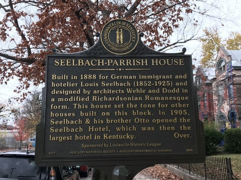 Seelbach-Parrish House Marker (Side A) image. Click for full size.