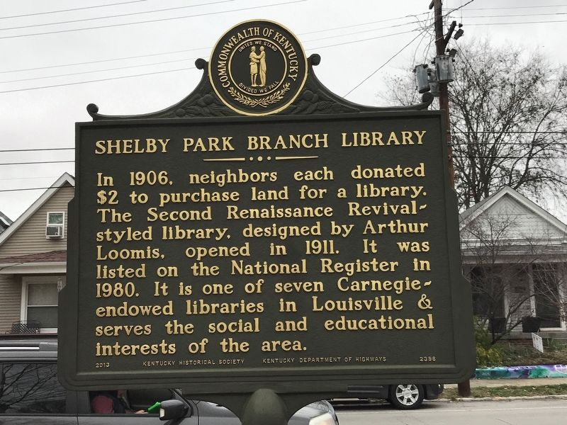 Shelby Park Branch Library Marker image. Click for full size.