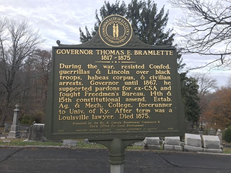 Governor Thomas E. Bramlette Marker (Side B) image. Click for full size.