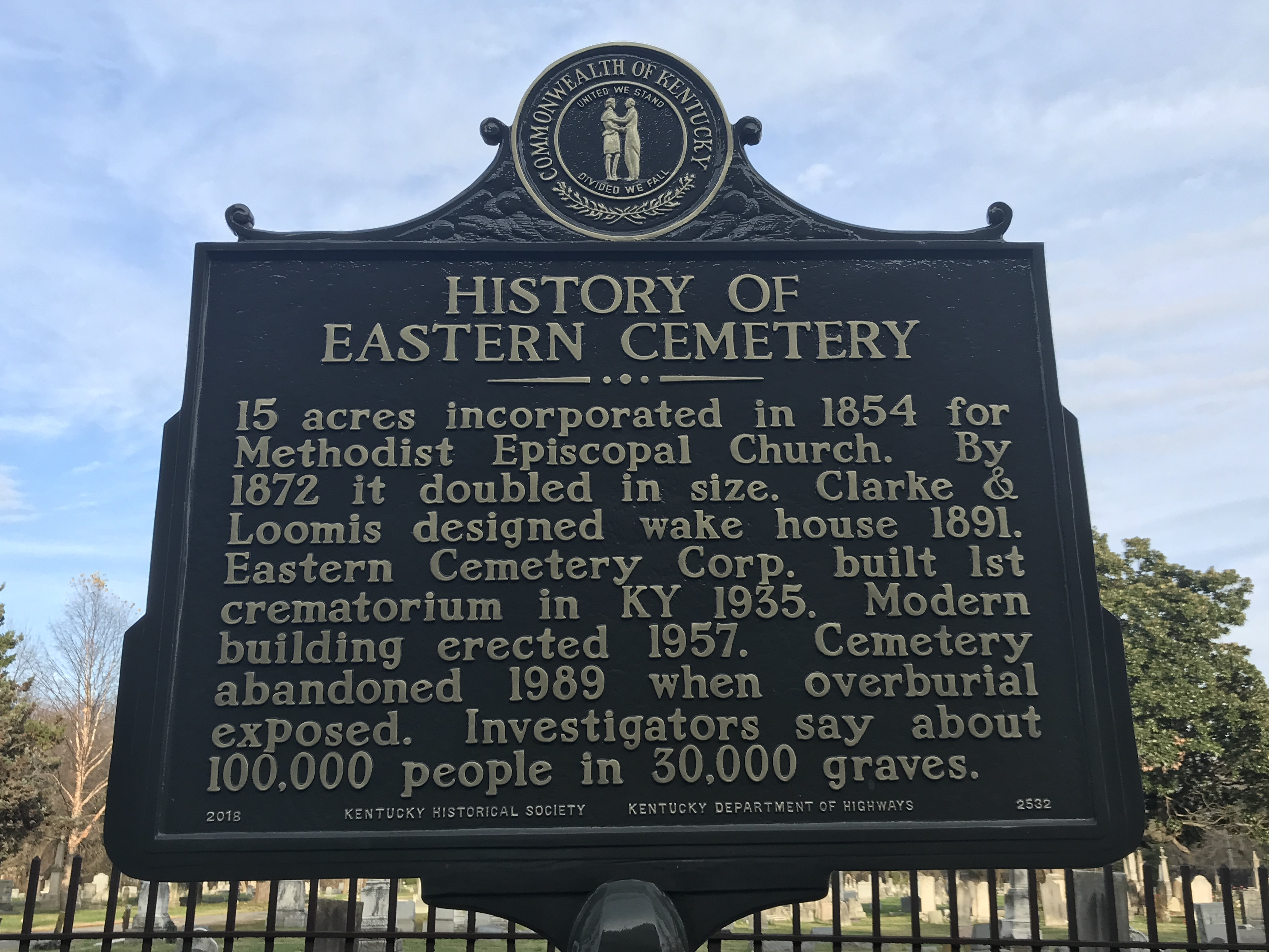 History of Eastern Cemetery Marker