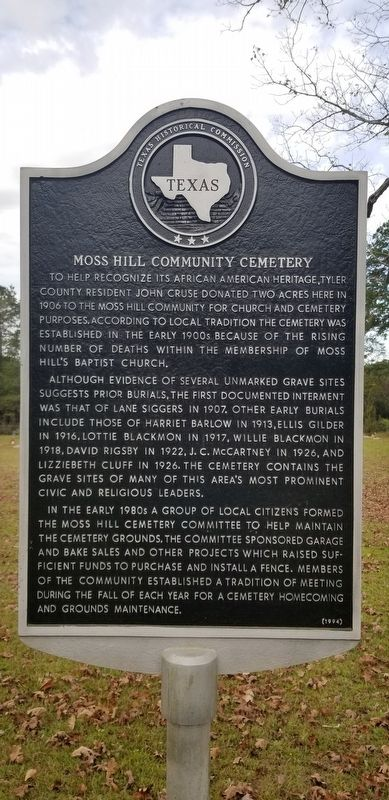 Moss Hill Community Cemetery Marker image. Click for full size.