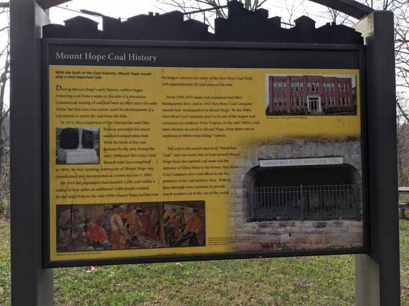 Mount Hope Coal History Marker image. Click for full size.